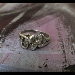 Antique Sterling Double Serpent Ouroboros Ring